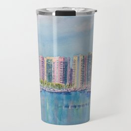 Aqua Towers and Marina in Long Beach Travel Mug
