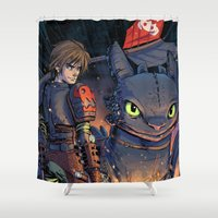 hiccup Shower Curtains featuring Dragon Trainer by Sergio Mancinelli