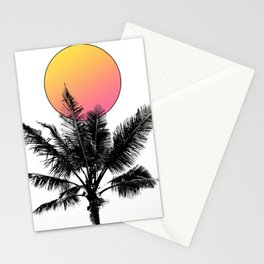 Palm Tree with a Sun Stationery Cards