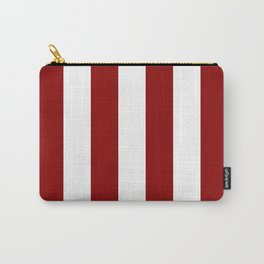 Vertical Stripes - White and Dark Red Carry-All Pouch