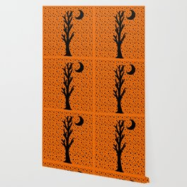Barren Black Tree Silhouette Stars Crescent Moon Orange Wallpaper