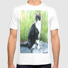 Louie the Tuxedo Cat White Mens Fitted Tee MEDIUM