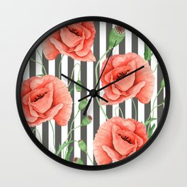Red Poppies Grey stripes Wall Clock