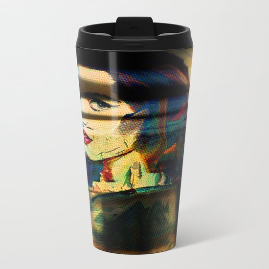 Painted Persephone On Rust Metal Travel Mug