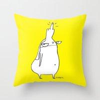 rubyetc Throw Pillows featuring fuckhead by rubyetc