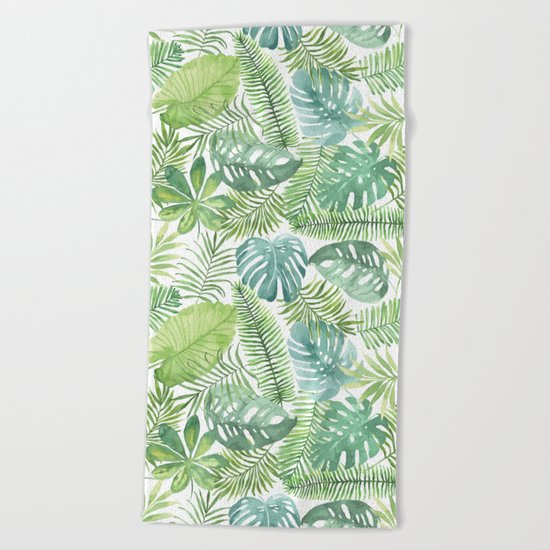 Tropical Branches Pattern 08 Beach Towel