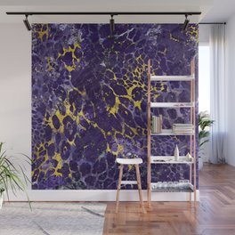Faux leopard fur in amethyst and gold Wall Mural