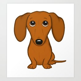 Shorthaired Dachshund Cartoon Dog Art Print