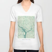 washington V-neck T-shirts featuring Washington Map Blue Vintage by City Art Posters