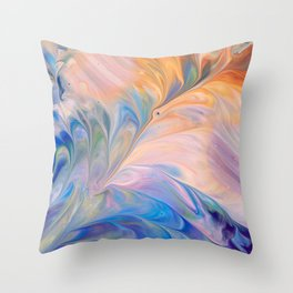 Colorful Flowing Marble Throw Pillow