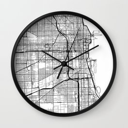 Chicago Map White Wall Clock