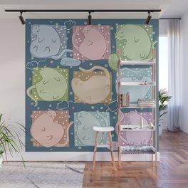 Blobby Cats dark Wall Mural