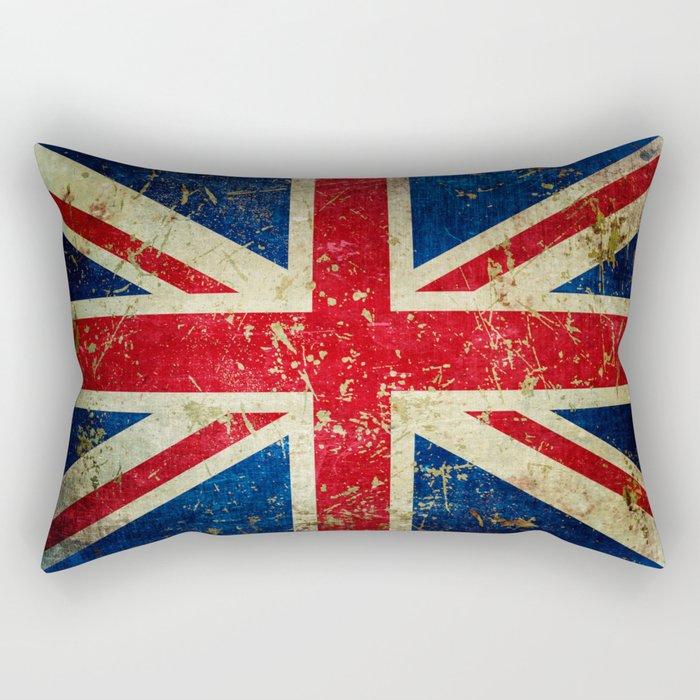 Grunge Scratched Metal Union Jack / British Flag Rectangular Pillow