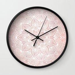 Mandala Yoga Love, Blush Pink Floral Wall Clock