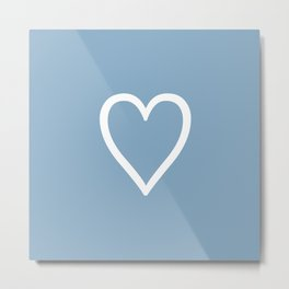 Heart sign on placid blue background Metal Print