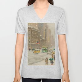 Fifth Avenue, Snowstorm, New York City landscape painting by Guy Carlton Wiggins Unisex V-Neck