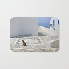 Cat and Mosaic - Milos - Landscape and Rural Art Photography Bath Mat
