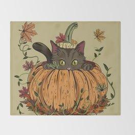 Pumpking cat Throw Blanket