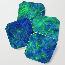 Neon blue green psychedelic Japanese paper abstract art Coaster