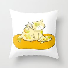 Mother Cat and Kittens Throw Pillow