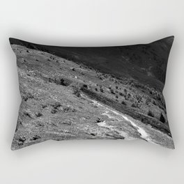 narrow hiking path alps serfaus fiss ladis tyrol austria europe black white Rectangular Pillow