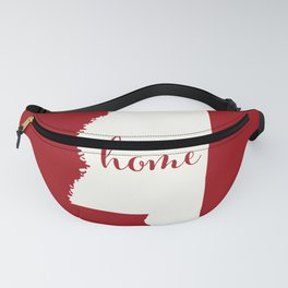 Mississippi is Home - White on Red Fanny Pack