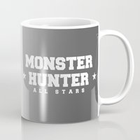 monster hunter Mugs featuring Monster Hunter All Stars - The Silver Sols by Bleached ink