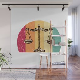 Scales Of Justice Lawyer Retro Gift Idea Wall Mural
