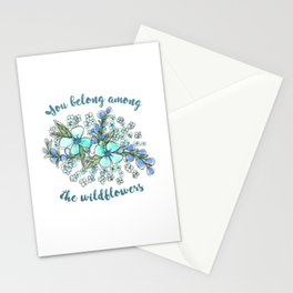 You belong among the wildflowers. Tom Petty quote. Watercolor illustration. Stationery Cards