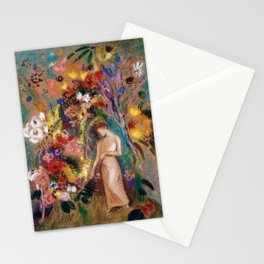 Female figure into red poppy, calla lilies, hibiscus, and flowers portrait painting by Odilon Redon Stationery Cards