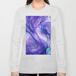 Violet Bloom Abstract Ink Painting Long Sleeve T-shirt