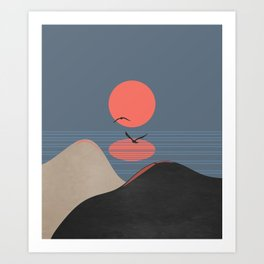 Minimal Sunset 12 Art Print