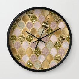 Rose gold glittering mermaid scales Wall Clock
