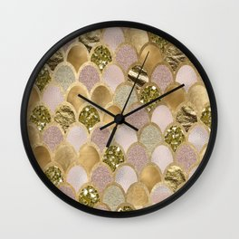 Rose gold glittering mermaid scales Wall Clock