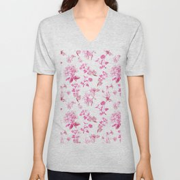 beautiful pink floral watercolour pattern Unisex V-Neck
