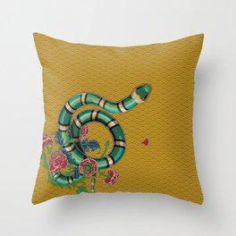 Snake Peonies Throw Pillow