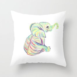 Colorful Baby Elephant In Bright Colors Throw Pillow