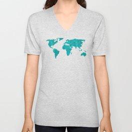 Turquoise Metallic Foil World Map Unisex V-Neck