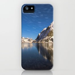 Swirling Stars Above Arctic Mountain Landscape iPhone Case