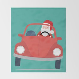 Santa Claus coming to you on his Car Sleigh Throw Blanket