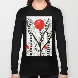 Pop of Color, Red Balloon Zendoodle in Fanciful Forest Long Sleeve T-shirt