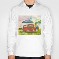 volkswagon Hoodies featuring VW Bug - Preparing for the Show by Barb Laskey Studio