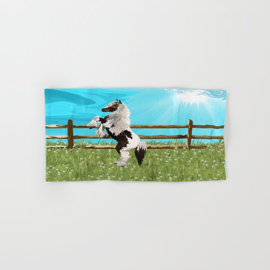 The Vanner Horse On a Heavenly Field of Daisies Hand & Bath Towel