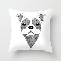 bulldog Throw Pillows featuring Bulldog  by Art & Be