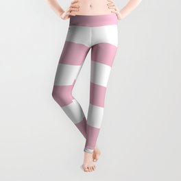 Cameo pink - solid color - white stripes pattern Leggings