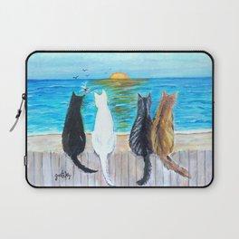 Cat Beach Sunset Laptop Sleeve