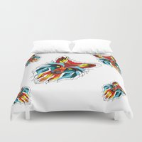 wolf Duvet Covers featuring Wolf by mark ashkenazi