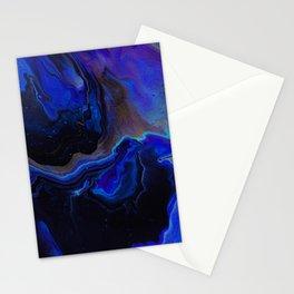 Dark Blue Midnight Waves Stationery Cards