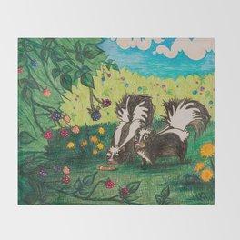 Skunk Picnic Throw Blanket