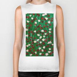 Red and White Flowers on Green Grass Biker Tank